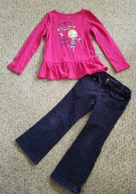 FADED GLORY Pink Long Sleeved Top TALBOTS KIDS Navy Corduroy Pants Girls Size 5