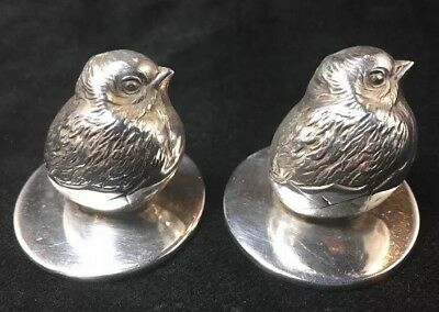 Pair Of English Sterling Silver Chicks Figural Place Card Holders By S. Mordan