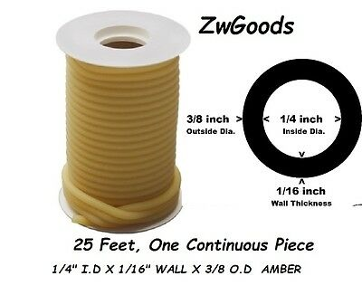"25 CONTINUOUS FEET 1/4 I.D x 1/16 wall x 3/8"" O.D LATEX TUBING AMBER RUBBER"