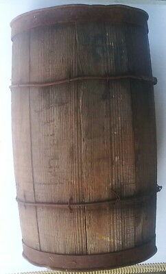 """Antique 17"""" Wooden Barrel Nail Keg with Steel and Wire Bands"""