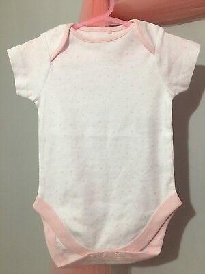 New Baby Girls Next White & Baby Pink Love heart BodySuit Vest 12-18m💕