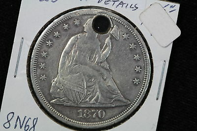 1870 Seated Liberty Silver Dollar Holed