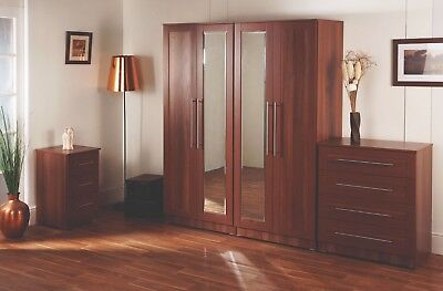 Roma Tuscany Walnut Wardrobe Drawers Set Fully Ready Assembled Bedroom Furniture