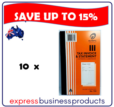 10 Pack Olympic #724 Duplicate Tax Invoice & Statement Book - AO140870