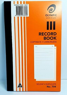 10 Pack Olympic 704 Carbonless Record Book - AO140857