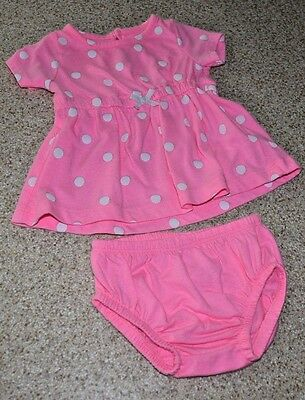 Pre-owned CARTER'S Pink Polka dot Baby girl's Summer dress w/diaper coverall 3M