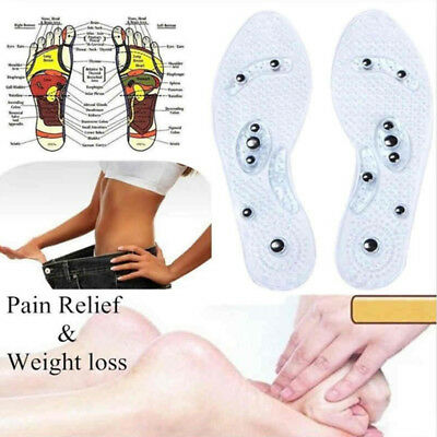 2 Pairs Women Men Silicone Insole Magnetic Therapy Anti Fatigue Massage Insoles