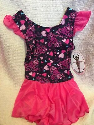 NWT Girls Moret Dance Bow Hearts Flutter Sleeve with Skirt Pink  Navy Blue 12/14