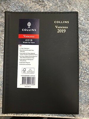 2019 Collins Vanessa A5 Week to View Opening WTV Spiral Diary 385.V99-19 - BLACK