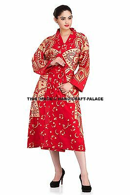 Ladies Summer Dressing Cotton Robe Indian Red Gold Ombre Mandala Print Long Gown