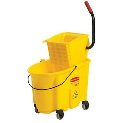 Rubbermaid 35 Qt. Durable Plastic Mop Bucket w Wringer Wheels Less Splashing NEW