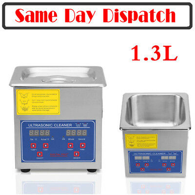1.3L Digital Stainless Steel Ultrasonic Cleaner Bath Cleaning Timer Tank Heat CE