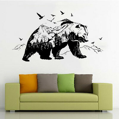 Removable Vinyl Wall Decal Stickers Kid Room Large black Bears Mountain Mural KD