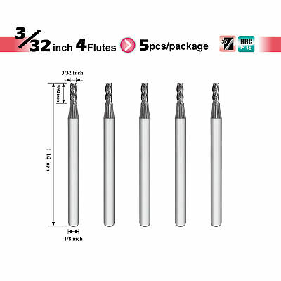 """[Speed Tiger] ISE Carbide Square End Mill - 4 flutes - Diameter 3/32"""" - 5pc"""