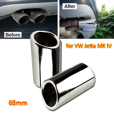 Silver Stainless Steel Exhaust Muffler Tail Pipe 68mm for VW Jetta Tiguan Polo 6