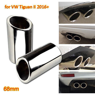 Silver Stainless Steel Exhaust Muffler Tail Pipe 68mm for VW Tiguan II 2017-18