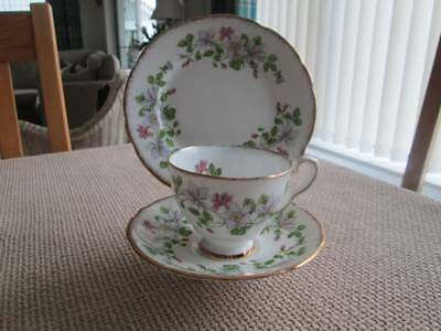 Pretty Floral Staffordshire Columbine Trio (Cup, Saucer And Plate)
