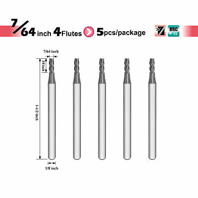 """[Speed Tiger] ISE Carbide Square End Mill - 4 flutes - Diameter 7/64"""" - 5pc"""