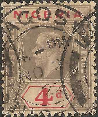 USED Black Red 1921 NIGERIA Four 4 Pennies Stamp KING GEORGE V. British Colony