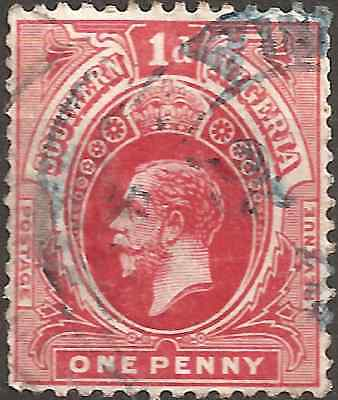 USED 1912 Red SOUTHERN NIGERIA One Penny Stamp KING GEORGE V. British Colony