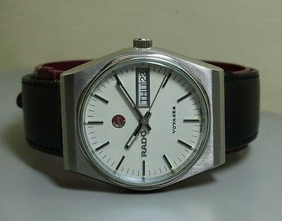 Vintage Rado Voyager Automatic Day Date Swiss 17150243 Watch e206 Used Antique
