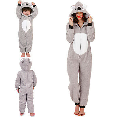 True Dreams Womens Or Kids Luxury Soft Fleece New 3D Koala All In One Sleepsuit