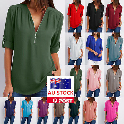 Women V Neck Zipper Long Sleeve Blouse Tops Ladies Casual Holiday Office T Shirt