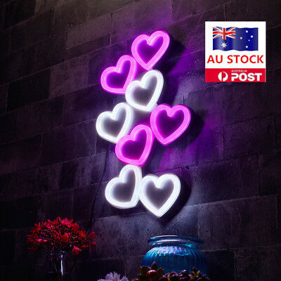 15'' X 9'' Eight Hearts LED Neon Sign Light Beer Store Shop Home Decor AU Plug