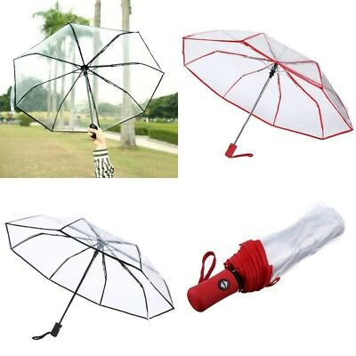 Portable Automatic Travel Auto Open Close Compact Rain Folding Clear Umbrella AU