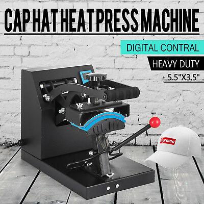 "Heat Press Transfer Digital Clamshell 6"" x 3,5"" Hat Cap Sublimation Machine New"