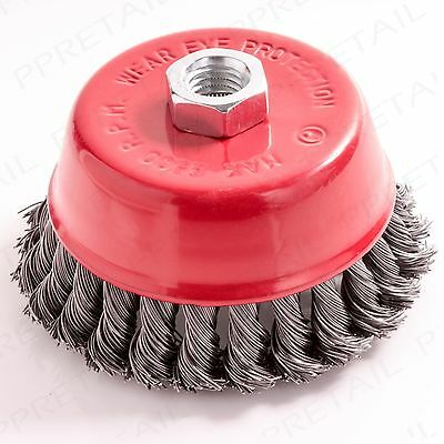100mm KNOTTED ROTARY STEEL WIRE BRUSH Crimp Cup Wheel Angle Grinder M14 Thread