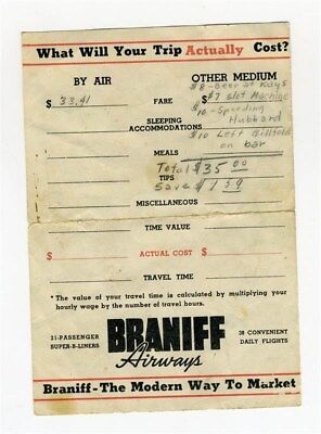 Braniff Airways Cost Sheet and Itinerary Form 21 Passenger B-Liners 1940's