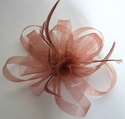 NEW Brown looped net and feather fascinator clip pin wedding prom races