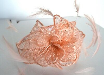 New Peach looped sinamay fine feather aliceband fascinator wedding races ascot