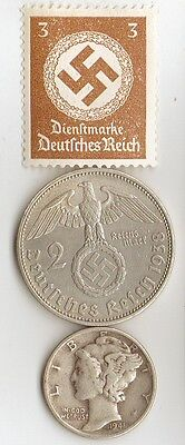 -* WWII - SILVER  *us  and  *german  coins / stamp+..