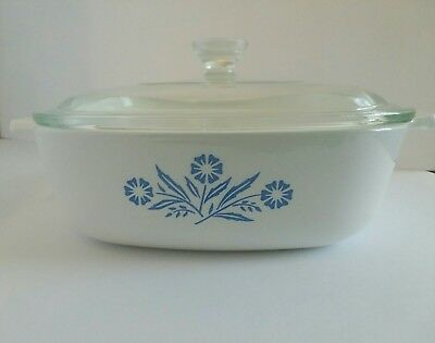 Original Corning Ware 1QT Casserole Dish with Lid - Gently Used, clear glass lid
