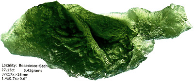 BESEDNICE MOLDAVITE 21.15ct TOP COLOR & TEXTURE, DIVINE POWER, NATURAL DINO FORM