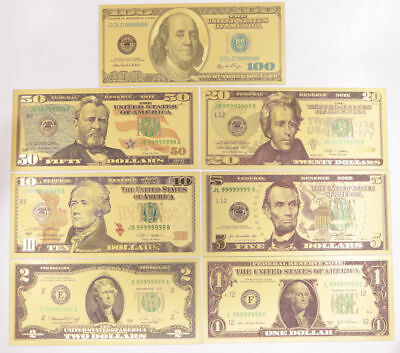 1 Set 7 Pcs $1-$100 US Dollar Paper Money Banknote Color Gold Bill Crafts New