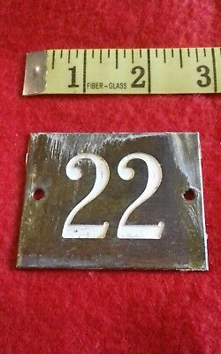 Salvaged/recaimed Solid Brass Vintage Door Plaque. House Door Sign  Number 22