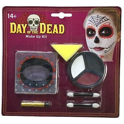 Day Of The Dead Halloween Fancy Dress Costume Make Up Party Face Paint Eye Pad