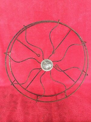 """Old Vintage Antique Emerson Sea Breeze Fan Cage & Badge for 12"""" Blade Not Brass"""