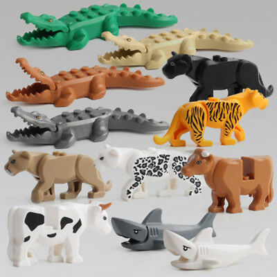 1Set Crocodile Tiger Cow Animals Buildable Model kids Animals Building Block Toy
