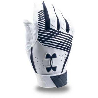 Under Armour Clean Up Batting Gloves Pair 1299530 - White/Navy - X-Large