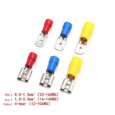 6.3mm Car Electrical Wiring Insulated Male Female Spade Terminal Crimp Connector