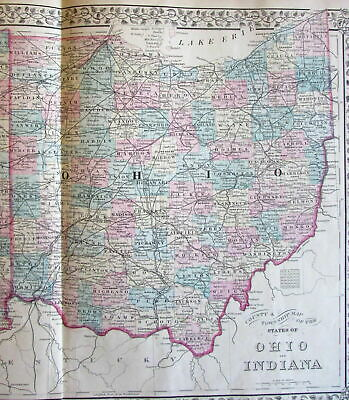 Ohio Indiana states c.1880 Mitchell large Engraved Hand Color Old Map