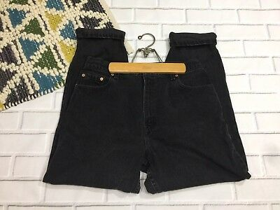 Vintage Levis 551 High Waist Mom Jeans Tapered Leg Relaxed Fit Black Wash 14