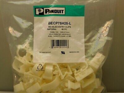 "50 Panduit BECP75H25-L Beveled Entry Clips Natural Nylon .75"" Cable Bundle Size"