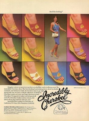 1982 AD Cherokee Shoes pretty lady feet Open Toe Wedge Heel Vintage Print Advert
