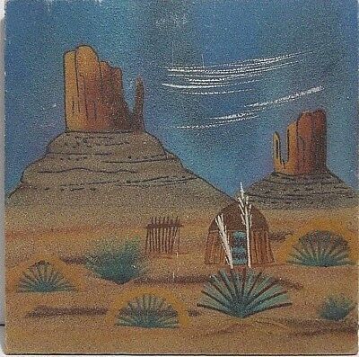 Navajo Native American Indian Sand Painting Mountain View Signed I LEE 12""