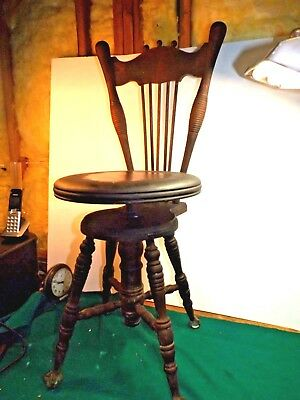 Antique Charles Parker High Back Glass Ball & Claw Foot Piano Organ Stool Bench